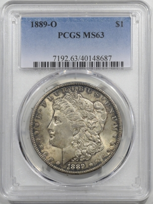 New Certified Coins 1889-O MORGAN DOLLAR – PCGS MS-63, ORIGINAL CHOICE COIN