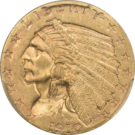 New Certified Coins 1910 $2.50 INDIAN HEAD GOLD – PCGS MS-62 PREMIUM QUALITY!