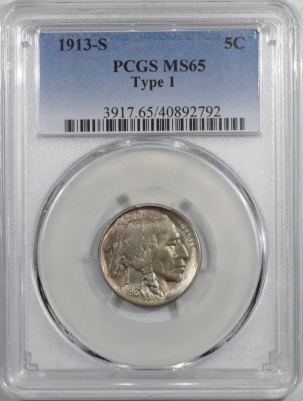 Buffalo Nickels 1913-S TY 1 BUFFALO NICKEL PCGS MS-65, GEM!
