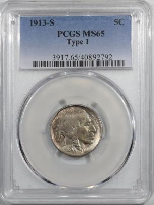 Buffalo Nickels 1913-S TY 1 BUFFALO NICKEL PCGS MS-65, GEM!
