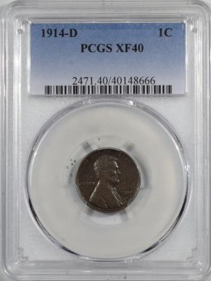 Lincoln Cents (Wheat) 1914-D LINCOLN CENT – PCGS XF-40