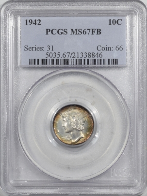 New Certified Coins 1942 MERCURY DIME PCGS MS-67 FB, REALLY PRETTY, FRESH & PQ!