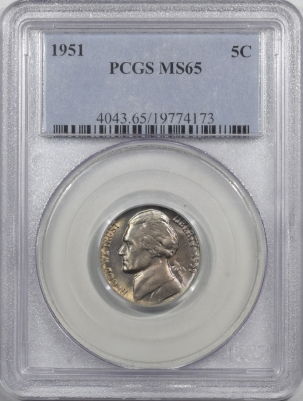 New Certified Coins 1951 JEFFERSON NICKEL – PCGS MS-65