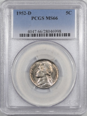 New Certified Coins 1952-D JEFFERSON NICKEL – PCGS MS-66 PREMIUM QUALITY!