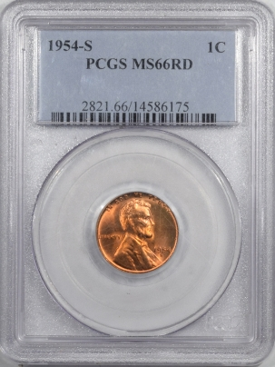 Lincoln Cents (Wheat) 1954-S LINCOLN CENT – PCGS MS-66 RD