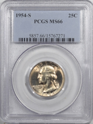 New Certified Coins 1954-S WASHINGTON QUARTER – PCGS MS-66 PREMIUM QUALITY! A BLAZER!