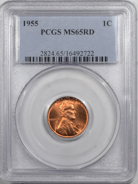 New Certified Coins 1955 LINCOLN CENT – PCGS MS-65 RD