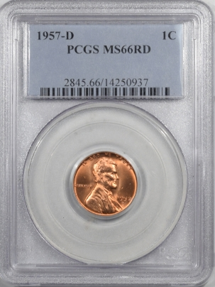 New Certified Coins 1957-D LINCOLN CENT – PCGS MS-66 RD