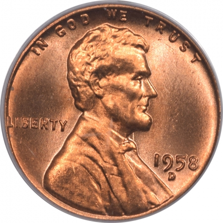 Lincoln Cents (Wheat) 1958-D LINCOLN CENT – PCGS MS-66 RD