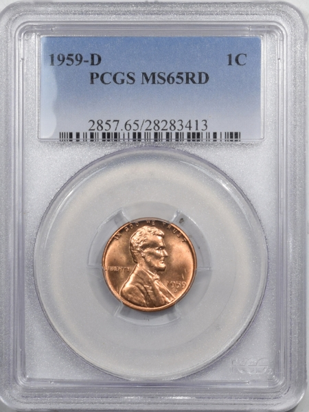 New Certified Coins 1959-D LINCOLN CENT – PCGS MS-65 RD