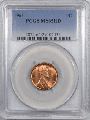 Lincoln Cents (Memorial) 1961 LINCOLN CENT PCGS MS-65 RD