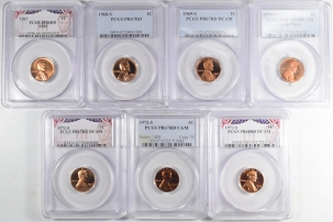 New Certified Coins 1967 – 1973-S PROOF/SMS LINCOLN CENTS, LOT OF 7, PCGS SP-66 RD – PR-68 RD DCAM