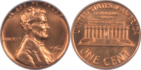 Lincoln Cents (Memorial) 1967 – 1973-S PROOF/SMS LINCOLN CENTS, LOT OF 7, PCGS SP-66 RD – PR-68 RD DCAM