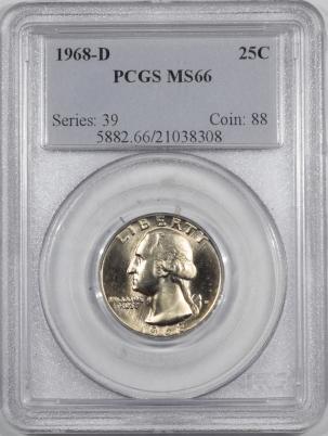 New Certified Coins 1968-D WASHINGTON QUARTER – PCGS MS-66