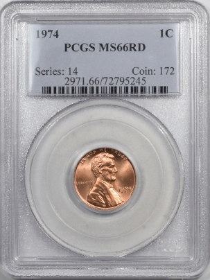 Lincoln Cents (Memorial) 1974 LINCOLN CENT PCGS MS-66 RD