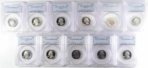 New Certified Coins 1977-S-1985-S PROOF WASHINGTON QUARTER 11 COIN SET PCGS PR-69 DCAM W/ TYPE 1&2