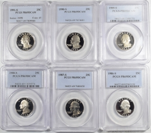 New Certified Coins 1986-S – 1991-S PROOF WASHINGTON QUARTERS LOT/6 – PCGS PR-69 DCAM