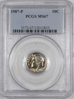 New Certified Coins 1987-P ROOSEVELT DIME – PCGS MS-67