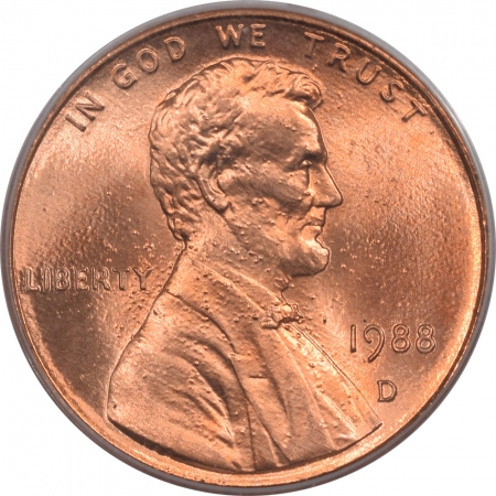 New Certified Coins 1988-D LINCOLN CENT PCGS MS-67 RD