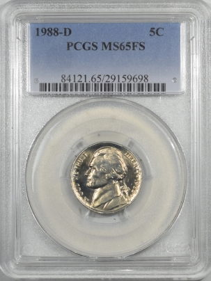 Jefferson Nickels 1988-D JEFFERSON NICKEL – PCGS MS-65 FS