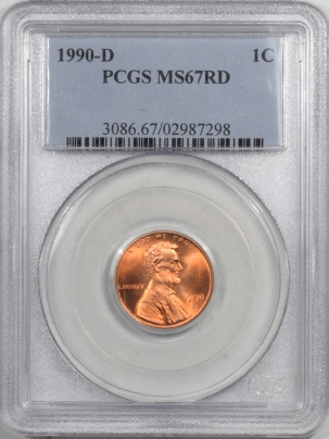 Lincoln Cents (Memorial) 1990-D LINCOLN CENT PCGS MS-67 RD