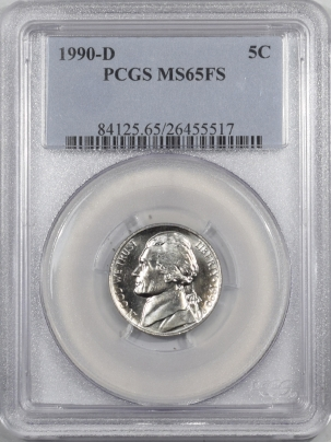 New Certified Coins 1990-D JEFFERSON NICKEL – PCGS MS-65 FS