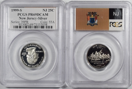 U.S. Certified Coins 1999-S NEW JERSEY PROOF STATE QUARTER 2 PC SILVER & CLAD SET PCGS PR69 DCAM FLAG