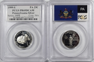 Quarters 1999-S PENNSYLVANIA PROOF STATE QUARTER 2 PC SILVER/CLAD SET PCGS PR69 DCAM FLAG