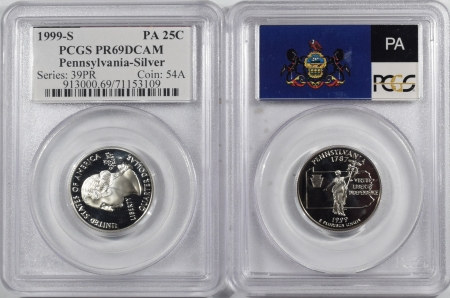 U.S. Certified Coins 1999-S PENNSYLVANIA PROOF STATE QUARTER 2 PC SILVER/CLAD SET PCGS PR69 DCAM FLAG