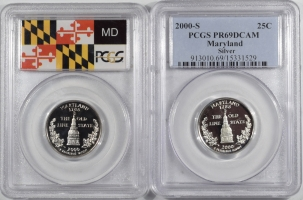Quarters 2000-S MARYLAND PROOF STATE QUARTER 2 COIN SILVER & CLAD SET PCGS PR69 DCAM
