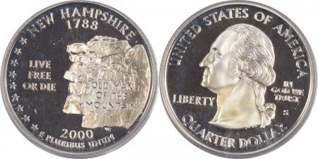 U.S. Certified Coins 2000-S NEW HAMPSHIRE PROOF STATE QUARTER 2 COIN SILVER & CLAD SET PCGS PR69 DCAM