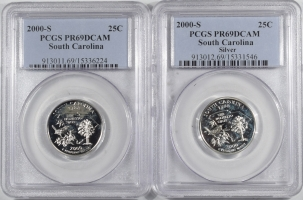 Quarters 2000-S SOUTH CAROLINA PROOF STATE QUARTER 2 PC SILVER & CLAD SET PCGS PR69 DCAM