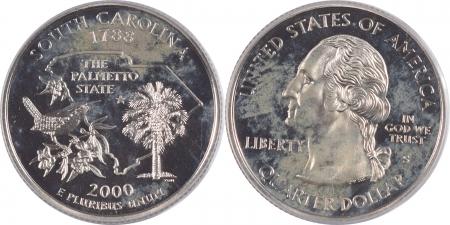 U.S. Certified Coins 2000-S SOUTH CAROLINA PROOF STATE QUARTER 2 PC SILVER & CLAD SET PCGS PR69 DCAM