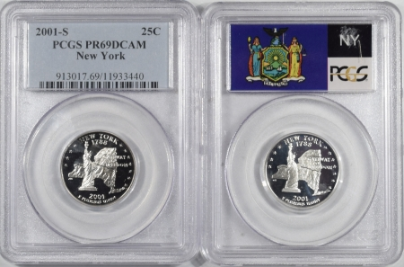 U.S. Certified Coins 2001-S NEW YORK PROOF STATE QUARTER 2 COIN SILVER & CLAD SET PCGS PR69 DCAM