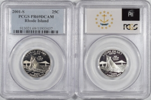 New Certified Coins 2001-S RHODE ISLAND PROOF STATE QUARTER 2 COIN SILVER & CLAD SET PCGS PR69 DCAM