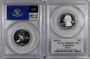 New Certified Coins 2002-S LOUISIANA PROOF STATE QUARTER 2 COIN SILVER & CLAD SET PCGS PR69 DCAM