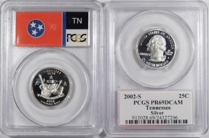 New Certified Coins 2002-S TENNESSEE PROOF STATE QUARTER 2 COIN SILVER & CLAD SET PCGS PR69 DCAM