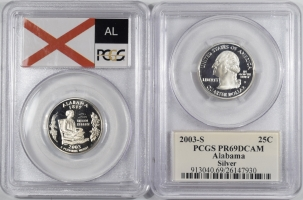 New Certified Coins 2003-S ALABAMA PROOF STATE QUARTER 2 COIN SILVER & CLAD SET PCGS PR69 DCAM FLAG