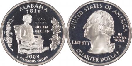 New Certified Coins 2003-S ALABAMA PROOF STATE QUARTER 2 COIN SILVER & CLAD SET PCGS PR69 DCAM FLAG