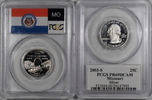 New Certified Coins 2003-S MISSOURI PROOF STATE QUARTER 2 COIN SILVER & CLAD SET PCGS PR69 DCAM FLAG