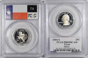 New Certified Coins 2004-S TEXAS PROOF STATE QUARTER 2 COIN SILVER & CLAD SET PCGS PR69 DCAM, FLAG
