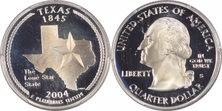 U.S. Certified Coins 2004-S TEXAS PROOF STATE QUARTER 2 COIN SILVER & CLAD SET PCGS PR69 DCAM, FLAG