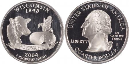 Quarters 2004-S WISCONSIN PROOF STATE QUARTER 2 COIN SILVER & CLAD SET PCGS PR69 DCAM
