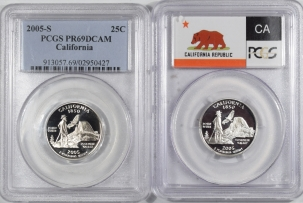 U.S. Certified Coins 2005-S CALIFORNIA PROOF STATE QUARTER 2 COIN SILVER & CLAD SET PCGS PR69 DCAM