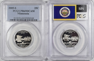 Quarters 2005-S MINNESOTA PROOF STATE QUARTER 2 COIN SILVER & CLAD SET PCGS PR69 DCAM