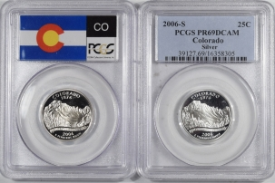 New Certified Coins 2006-S COLORADO PROOF STATE QUARTER 2 COIN SILVER & CLAD SET PCGS PR69 DCAM