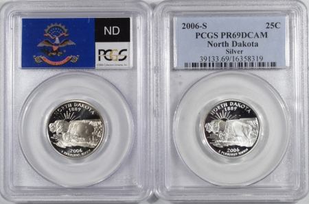 U.S. Certified Coins 2006-S NORTH DAKOTA PROOF STATE QUARTER 2 COIN SILVER & CLAD SET PCGS PR69 DCAM