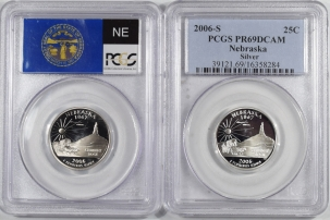 New Certified Coins 2006-S NEBRASKA PROOF STATE QUARTER 2 COIN SILVER & CLAD SET PCGS PR69 DCAM