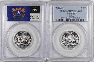 New Certified Coins 2006-S NEVADA PROOF STATE QUARTER 2 COIN SILVER & CLAD SET PCGS PR69 DCAM