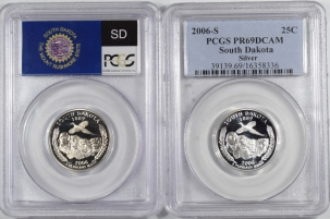 Quarters 2006-S SOUTH DAKOTA PROOF STATE QUARTER 2 COIN SILVER & CLAD SET PCGS PR69 DCAM